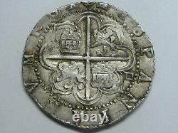 Philip II 4 Real Cob Sevilla Spain Round Planched Spanish Colonial Silver Coin