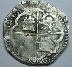 Philip II 4 Real Cob Toledo Assayer M Spanish Silver Colonial Era Genuine Cob