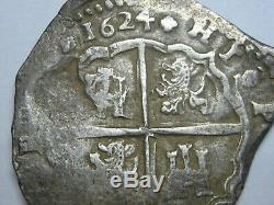 Philip IV 1624 Toledo 4 Real Cob Full Date Spanish Silver Colonial Era Cob