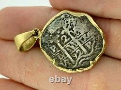 Pirate Coin Treasure Piece of Eight Authentic 2 Reale Cob 14K Gold PendantDated