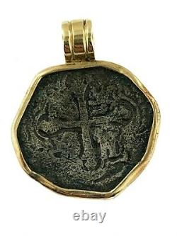 Pirate Coin Treasure Piece of Eight Authentic 4 Reale Cob Solid 14K gold pendant