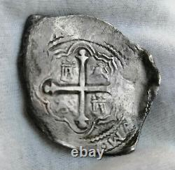 Pirate cob spanish colonial Silver 8 Reales Mexico P 1654 Full dated