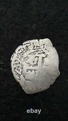 Potosi Bolivia 2 Reale Silver Cob Coin Dated 177 5.23 Grams