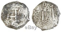 Potosi, Bolivia, Silver Cob 8 Reales, 1765V-Y-V, Spanish Colonial Coinage