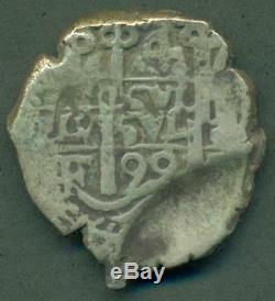 Potosi Bolivia Under Spain 4 Four Reales Silver Cob Coin 1699 F Scarce Assayer