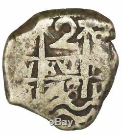 Potosi, Bolivia, cob 2 reales, 1748/7q, rare. Clear 8/7 in date