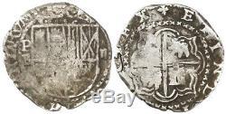 Potosi, Bolivia, cob 2 reales, Philip II, assayer B (5th period), borders of x's