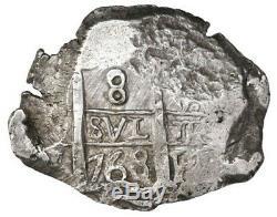 Potosi, Bolivia, cob 8 reales, 1768V-Y. S-P57 KM-45 CT-955. 26.37 Very Choice