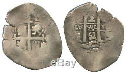 Potosi, Bolivia, silver cob 2 reales (pillars type), 1661E, #1071