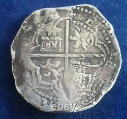 Potosi Philip II 8 Reales Silver Cob 1589-1603 Essayer Juan Ballesteros -type B9