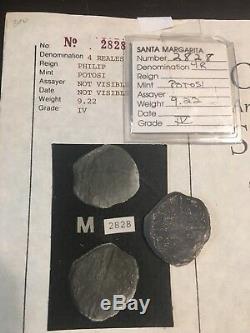 RARE 4 Reales Silver Shipwreck Treasure Cob Coin Potosi, Bolivia Santa Margarita