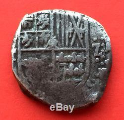 ¡¡ RARE! Silver cob 2 Reales of Philip IV. Potosi. Assayer T 1622 1633