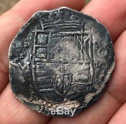 Rare Silver Cob 8 Reales Of Philip Iii. Mint Potosi. Assayer M. 1617