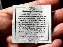 ¡¡ Rare! Silver Cob 8 Reales Of Philip V. Mexico. J. 1715 Shipwreck Coa