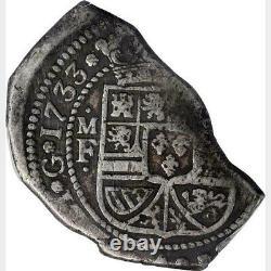 ¡¡ Rare! Silver Cob 8 Reales Philip V 1733 Mexico Klippe Type M. F