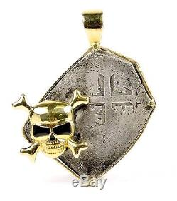 Rooswijk Mexico 8 Reales Shipwreck Cob Coin in custom 14k gold skull pendant