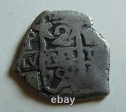 SILVER COB 2 REALES PHILIP IV 1629 POTOSI Old Antique Colonial Pirate Cob Coin