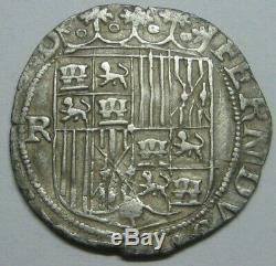 SPAIN 1 REAL COB 1400s GRANADA MINT CATHOLIC KINGS SPANISH SILVER COLONIAL ERA