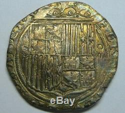 SPAIN 4 REAL COB 1400s SEVILLA CATHOLIC KINGS TONED SILVER COIN SPANISH COLONIAL