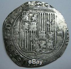 SPAIN 4 REAL COB SEVILLA FERDINAND & ISABEL 13.68 gr. CATHOLIC KINGS SCARCE COIN