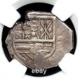 SPAIN. Philip IV, 1628-M, Silver Cob 2 Reales, Seville, NGC XF45