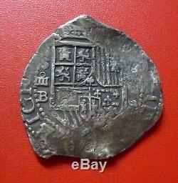 SPAIN SILVER COB 4 Reales, 1595B (Sevilla) Philip II
