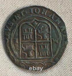 SPANISH COLONIAL REAL COB MEXICO CHARLES & JOHANNA PILLAR 1500s (#1)