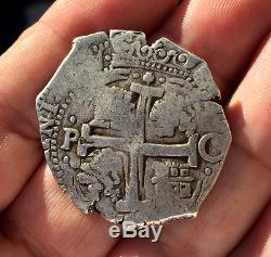 Scarce Silver Cob 8 Reales Of Carlos Ii. Mint Potosi. Assayer C. 1679