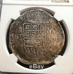 ¡¡ Scarce! Silver Cob 8 Reales Philip Ii. Year (1590) Toledo Mint. M. Vf30