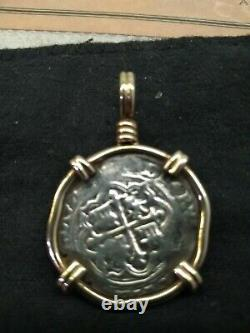 Ship wreck coin 1 Reale COA grade 1 Pendant Pirate Gold Coins Jewelry Cob, Nice