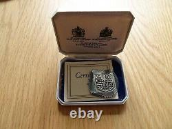 Silver 8 Reales Cob From Lucayan Beach Spink Pirate Treasure 1628 Cased With Coa
