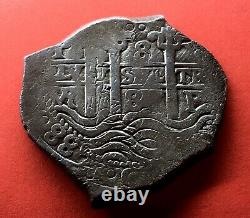 Silver Cob 8 Reales Carlos II Year 1688 Potosi Mint Assayers Vr Two Dates