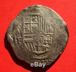 Silver cob 8 Reales of Philip II. Mint Mexico. Assayer F. SCARCE