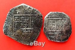 Silver lot 2 Cobs of 8 and 4 Reales of Philip III. Mint Sevilla and Toledo. Spain