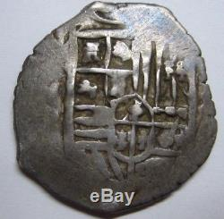Spain 2 Real Cob Mexico Philip III IV Pirates Silver Beautiful Coin Colonial