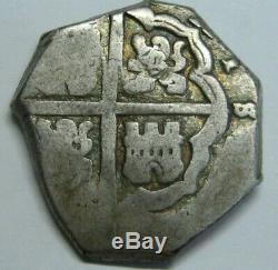 Spain 4 Real Cob Philip Era Atocha Peninsular Mint Spanish Colonial Silver Coin