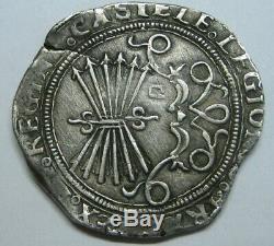 Spain 4 Real Cob Sevilla Catholic Kings Isabel & Ferdinand Scarce Silver Cob