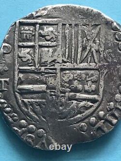 Spain 8 Reales Cob Philip IV Circa 1630 Rare Design 27 Grams Silver