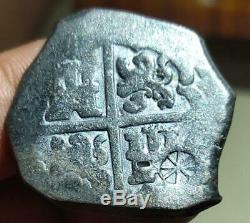 Spain Colonial 8 Reales Cob Small Sr C/m River Found Black Not Cleaned Very Nice