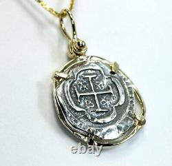 Spanish Cob piece of 8 Reale coin necklace 14K YG silver shipwreck treasure