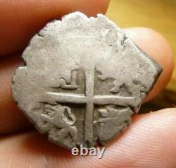 Spanish Lima Silver 2 Reales Piece of 8 Real Old Two Bits Pirate Cob Coin