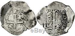 Spanish Silver Cob 2 Real 1666 Potosi E Felipe IV C-914 Hispanic C5358