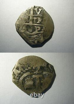 Spanish Silver Coin 2 Reales Cob Potosi Charles II Assayer V 1684 Bolivia Waves