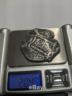 Spanish colonial 8 Reales silver cob (pirate) 20.49 g