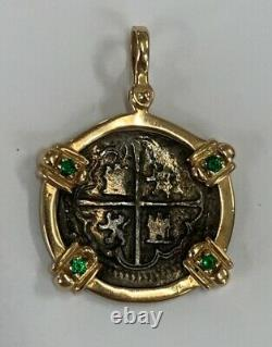Treasure Coin 2 Reales Silver Shipwreck Cob Coin 14K Yellow Gold Emerald Bezel