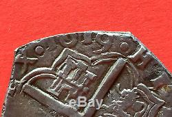 ¡¡ VERY RARE! Silver cob coin 4 Reales of Philip III. Mint Toledo. 1619. P