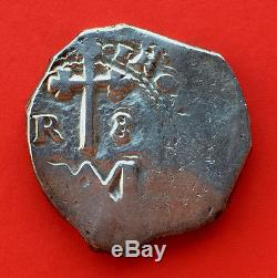 ¡¡ VERY RARE! Silver cob coin 8 Reales Carlos II. Mint Sevilla. Type Maria