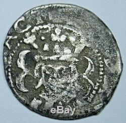 Valencia Spanish 1624 Silver 1 Reales Piece of 8 Colonial Era Antique Cob Coin
