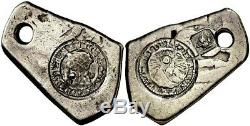 Very Rare Silver Cob 4 Reales Costa Rica 1846 On 4 Reales Guatemala Countermark