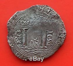 ¡¡ Very Rare! Silver Cob 8 Reales Philip Iv. Santa Fe Nuevo Reino. 1654